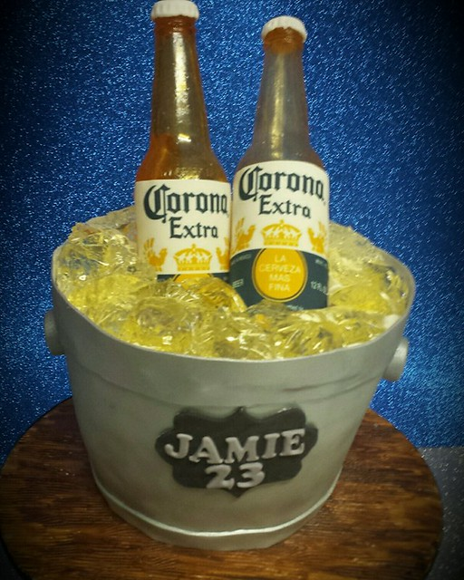 Corona Ice Bucket Cake - Bottles made from Sugar Glass by Angela AndPaul Goegan