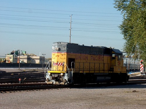 A Union Pacific EMD GP 15 idling at the Metra California Avenue coach yard.  Chicago Illinois.  October 2006. by Eddie from Chicago
