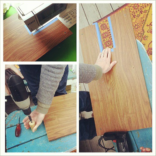 Quick and dirty diy #sewing extension table. 15x29 inches using old scraps. If I like it maybe I'll make a fancier one.