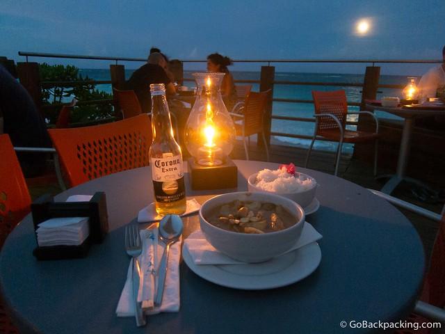 A romantic, moonlight dinner for one at Mezzanine, a Thai restaurant