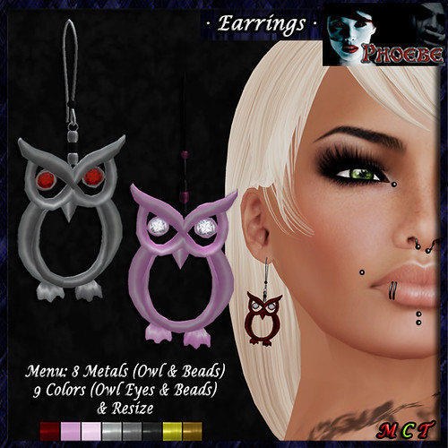 *P* Owl Earrings ~8 Metals-9 Gems~