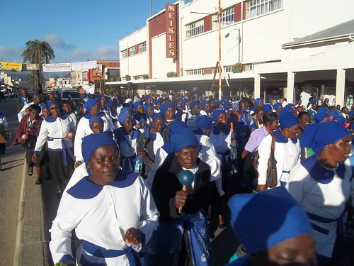 The procession from Miekles Park, Mutare along Main Street to St John the Baptist Cathedral
