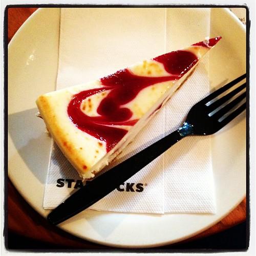 At #starbucks-#whitechocolate #raspberry #cheesecake! For #knowledge sake! Creamy, smooth, yum!!