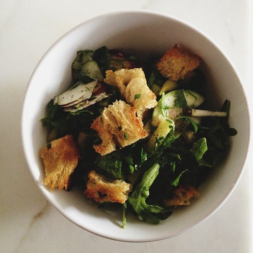 Communal Salad with Homemade Croutons: a #NotSadDeskLunch from Food52