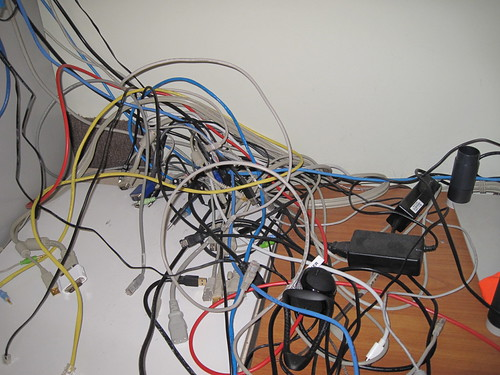 Some of the cabling mess