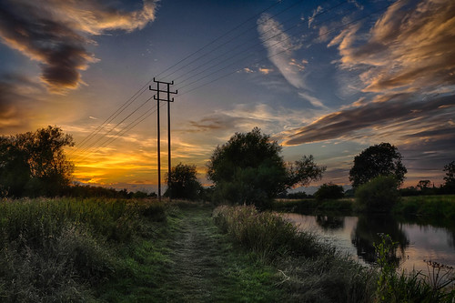 sunset england cloud reflection unitedkingdom cable footpath hdr loughborough towpath charnwood overheadcable riversoar blindphotographers