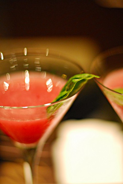 Basil and pomegranate martini
