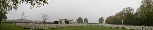 A foggy day at the Canadian 1st World War Memorial at Vimy Ridge in France, with its graves row upon row.