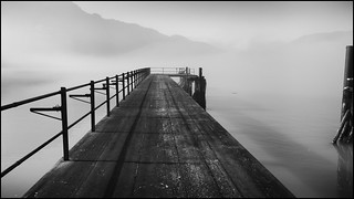 On the jetty as the fog floats by