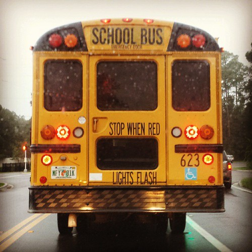 Rainy school morning. #schoolbus #yellowbus #themomentschallenge