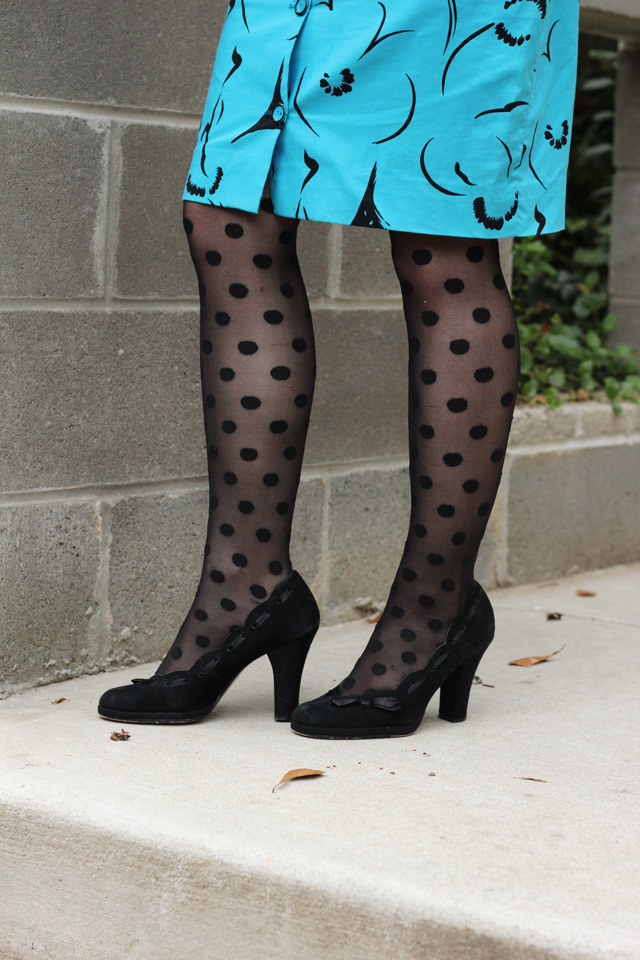 My Birthday Outfit Vintage 80s Dress Amp Polka Dot Tights