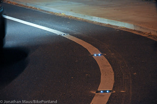 LED bike lane lights on NE Couch-1