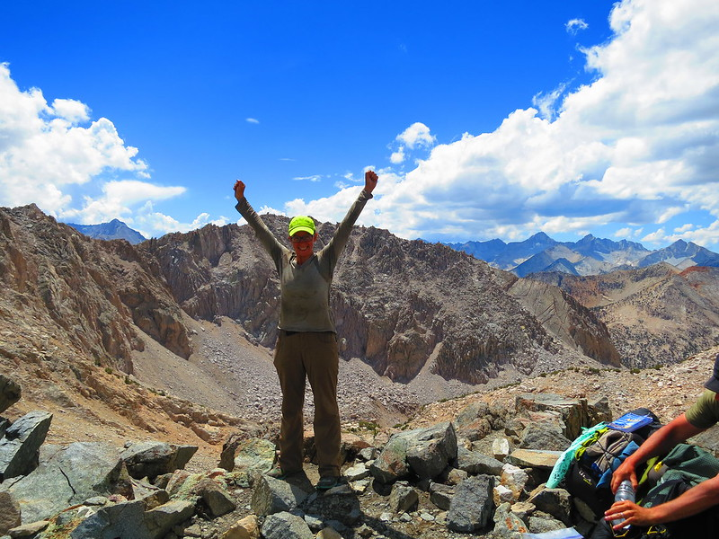 alice at the summit of glen pass in kings canyon national park