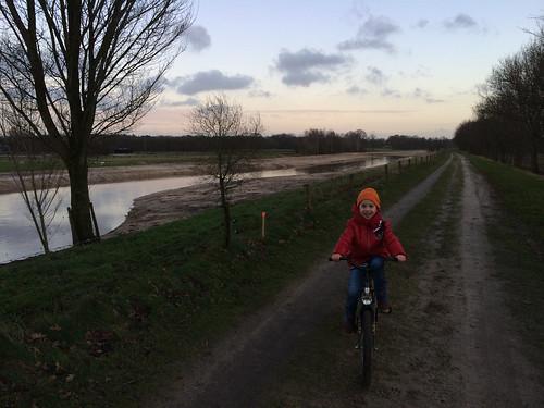 Scott riding his new bike along the Regge river in Ommen