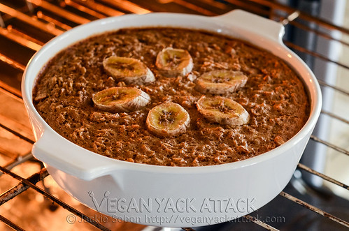This Chunky Monkey Baked Oatmeal is a terrific and easy holiday breakfast inspired by the delectable ice cream flavor! Vegan, Gluten-free