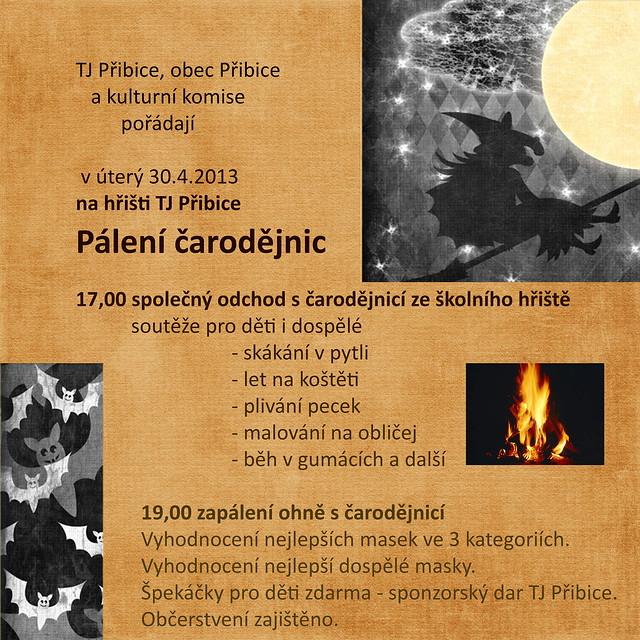 Plakát k pálení čarodějnic Přibice 2013