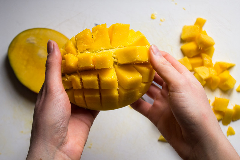 fold mango skin inside-out