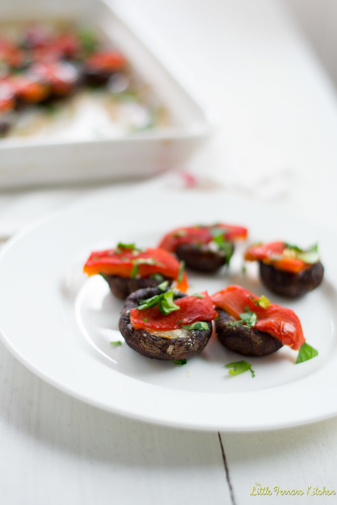Manchego and Roasted Pepper Stuffed Mushrooms #AppetizerWeek via LittleFerraroKitchen.com