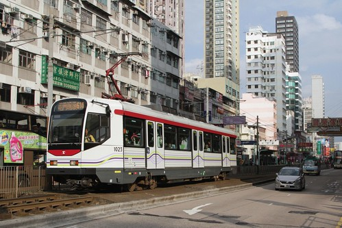 Phase I LRV on Castle Peak Road in Yuen Long