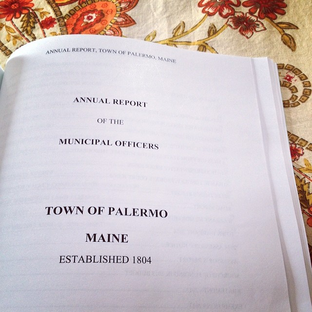 To review over breakfast, our town's Annual Report, and Town Meeting is next weekend. #maine