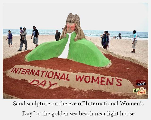 Mr. Manas Kumar Sahoo Observes International Women's Day through his Sand Art