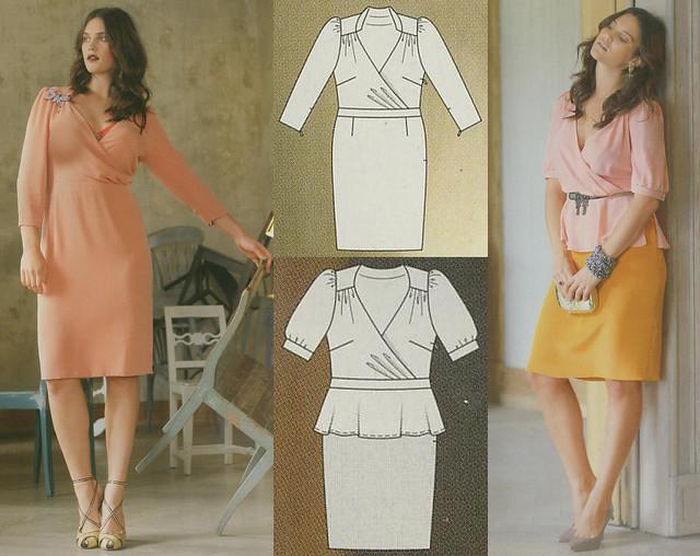 Burda-March-2014 Plus Size Wrap Top Dress
