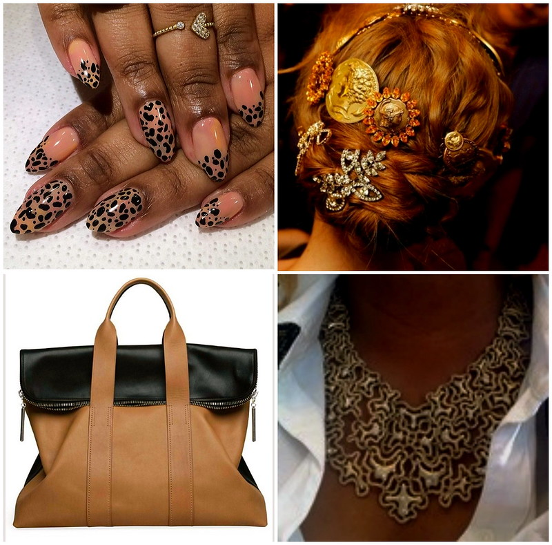 leopard+nail+art+vintage+pins+hair+braids+phillip+lim+31+hour+bag+colorblock