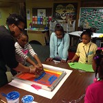 Ms Oyin teaching screen printing