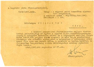 II/2. A mágocsi izraelita hitközség panasza, hogy 1943-ban a birodalmi német diákok és néhány helyi suhanc megrongálta a mágocsi zsidó temető sírköveit.