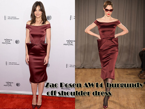 Katie Holmes in Zac Posen deep maroon off-the-shoulder satin gown