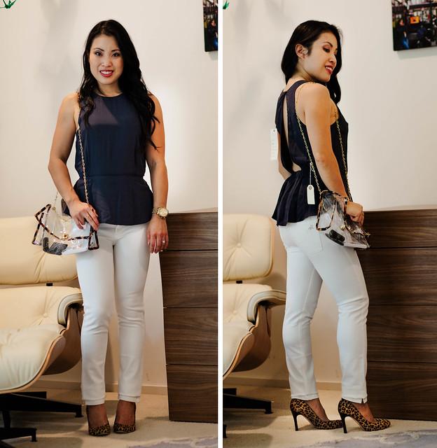 cute & little blog | petite fashion | blue jean bar express review | amour vert peplum top, dl1961 white jeans