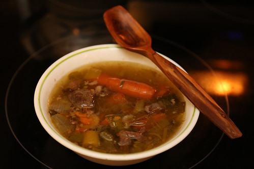 Nourishing beef soup for dinner
