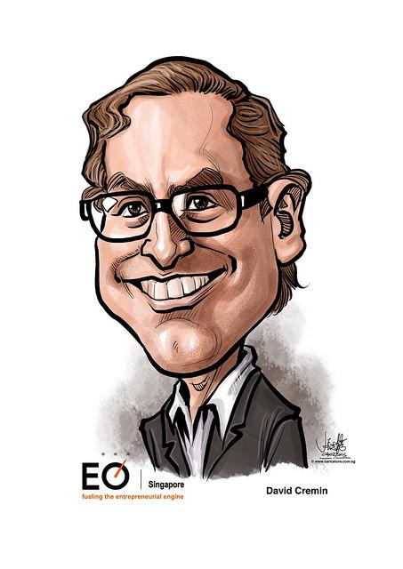 digital caricature for EO Singapore - David Cremin