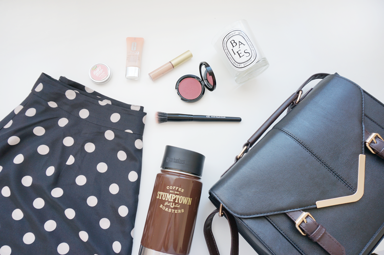 bespectacled, things I like, beauty, style, life, ASOS Tall Polka Dot Culottes, Clinique Moisture Surge Extended Thirst Relief, LUSH Honey Trap, ASOS bag, e.l.f. small stipple brush, Make Up For Ever HD Blush,