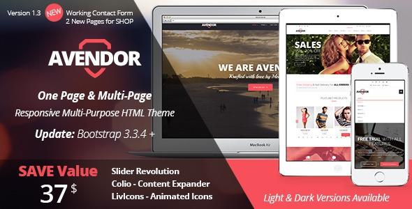 AVENDOR v1.3 - One Page / Multi Page Multipurpose