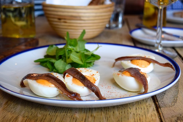 Devilled Eggs with Oritz Anchovies & Lambs Lettuce at The Duke William, Ickham | www.rachelphipps.com @rachelphipps