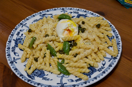 Spring Gemelli Pasta with Garlic Sugar Snap Peas, Crispy Capers & Soft-Boiled Eggs