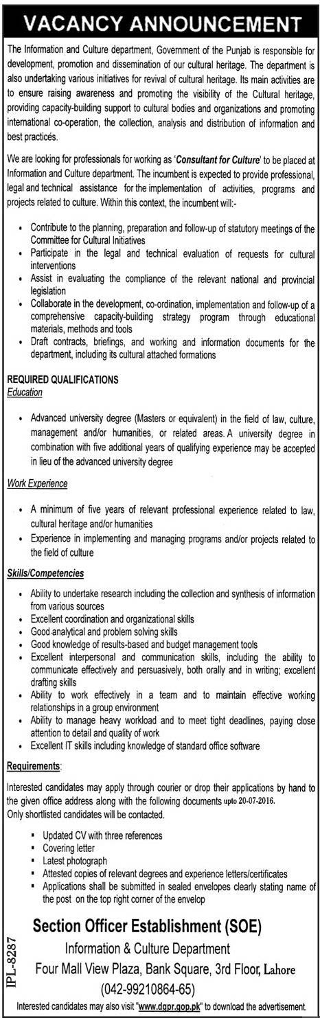 Information and Culture Department Lahore Consultant Culture Required