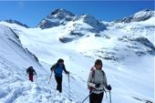 Silvretta, Skitour Piz Buin, 3312 m, Blick auf den Piz Buin und Ochsentaler Gletscher. Foto: Günther Härter.