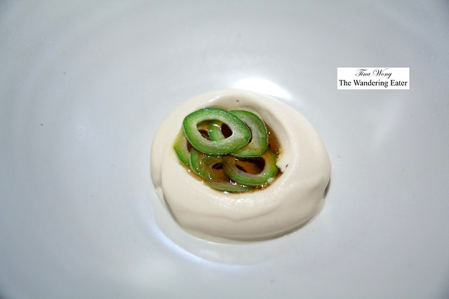 Mascarpone ice cream, miso caramel, slivered green almonds