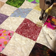The free-motion fun has begun on the picnic #quilt for #aLYoF for May