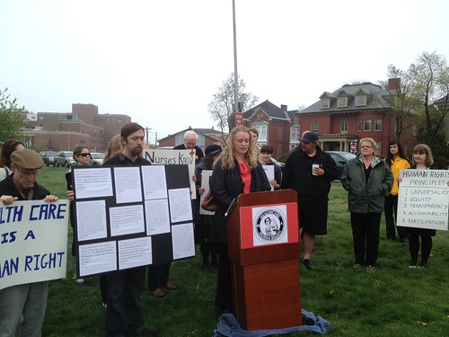 Uni health care 1 -Natalie Owens speaks at a press conference for universal health care. Photo: Patty Wight