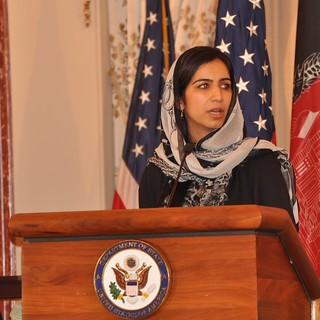 An image of Zala Ahmad MA '12, Fulbright scholar, honored by the State Department for her efforts to improve primary and secondary education for young Afghan girls