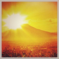 Sunset time over Fuji