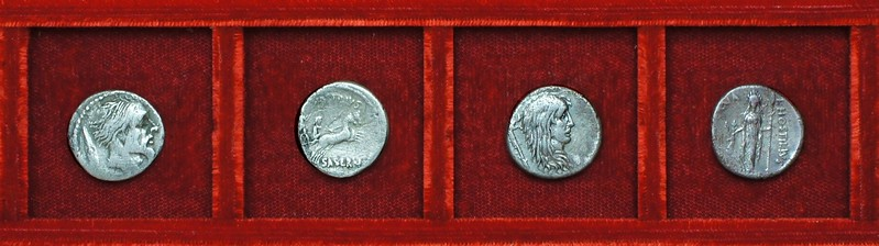 RRC 448 L.HOSTILIVS SASERN Hostilia Vercingetorix and female captive Gaul, Ahala collection, coins of the Roman Republic