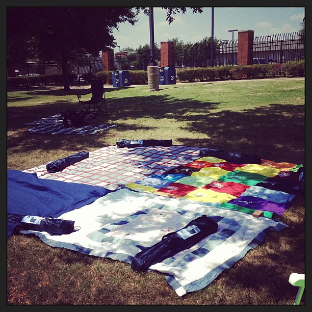 Blankets reserving our place for tonight's fireworks. Come join us behind the post office. #southlake