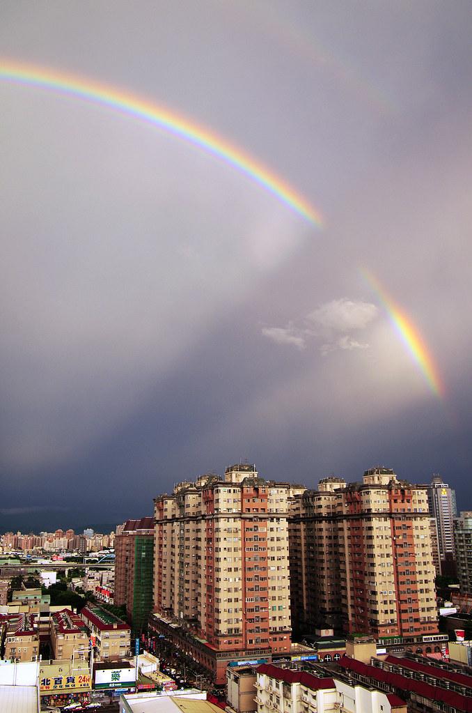 雨後即景~難得一見的雙虹