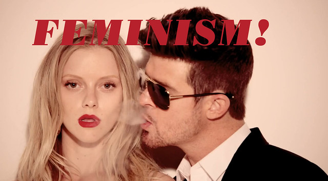 "robin thicke blowing smoke in a girl's face with the word ""feminism"" above it"