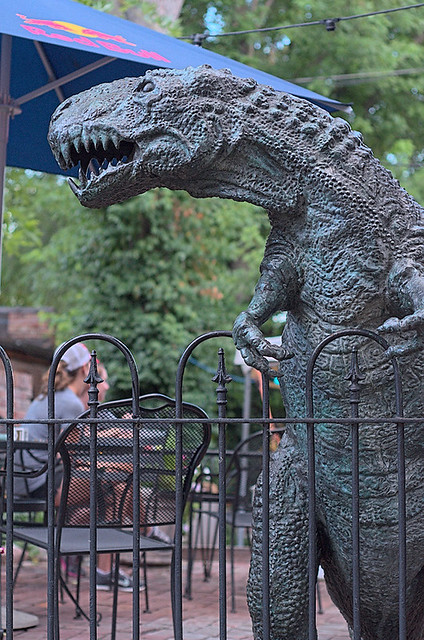 Soulard Neighborhood, in Saint Louis, Missouri, USA - dinosaur sculpture