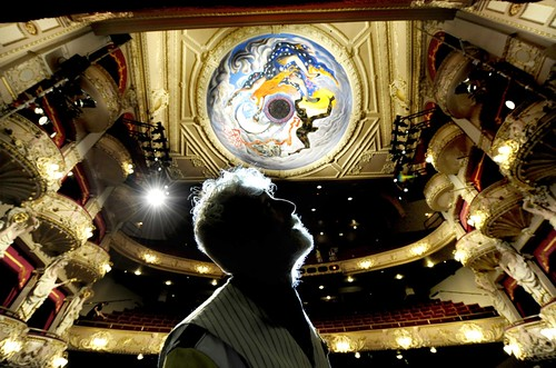 John Byrne with his King's dome mural, part of the theatre's ongoing refurbishment. Photo © Colin Hattersley